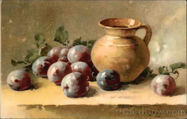 Still Life of Plums and Brown Pitcher C. Klein Art