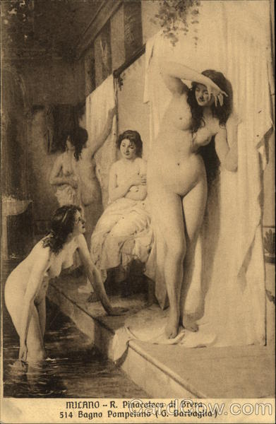 Nude Women in Bath House Risque & Nude