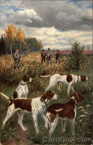 Hunting Scene with Four Pointer Dogs