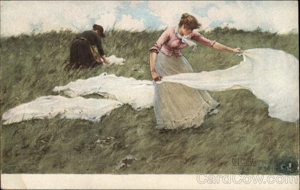 A Breezy Day - Two Women in the Meadow