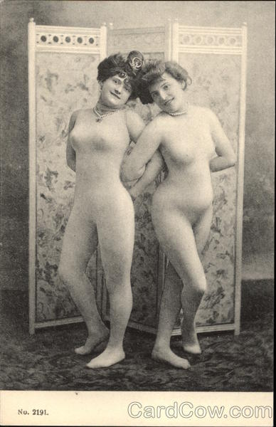 Two Vintage Women in Thin Flesh Leotards Risque & Nude