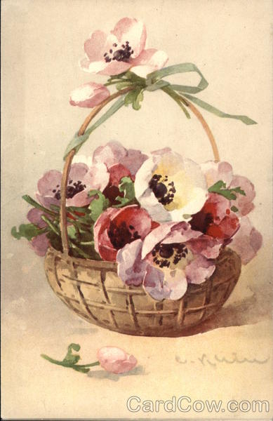 Basket of Pansies Flowers
