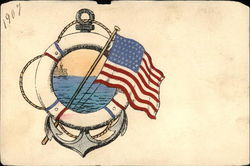 Life-Ring, Anchor, American Flag, and View of the Ocean