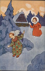 A Girl Throwing Snowballs with an Angel