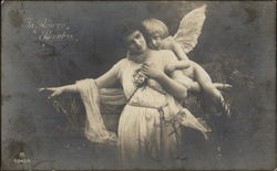 Little Angel Embracing Woman