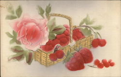 Basket of Strawberries, Cherries and Red Blooms