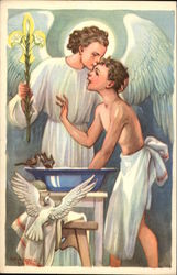 """Clean in Body & Soul"" - Boy with Angel, Water Basin, and Birds"