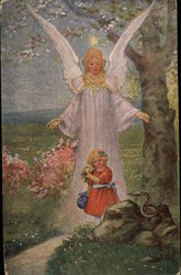 Angel protecting little girl from snake Postcard