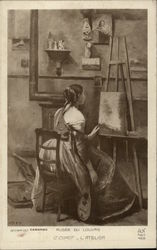 """The Workshop"" - Girl in Art Studio with Painting & Stringed Instrument Postcard"