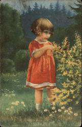 Little Girl in Red Dress Among the Flowers