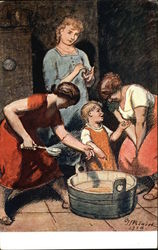 Three Woman and a Child beside Tub with Ladel