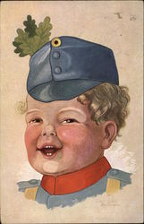 Young Boy in Blue Uniform with Oak Leaves in Cap