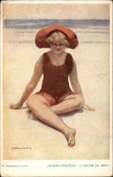 Girl on Beach in Red Swimsuit and Hat