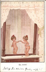 Little Girl with Red Bow standing Nude in the Mirror