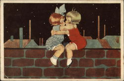 A Boy and A Girl Kissing on the Wall
