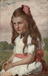 Portrait of Young Girl in White Dress with Pink Sash