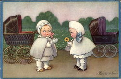 Two Little Girls with Baby Carriages