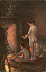 After Bathing - Two Nude Children by the Fire