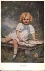 Little Blonde Girl Reading on a Bench