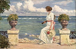 """Expectant"" - Woman Waiting with Tennis Raquet Postcard"