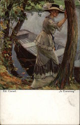 """In Anticipation"" - Woman stepping into Row Boat Postcard"