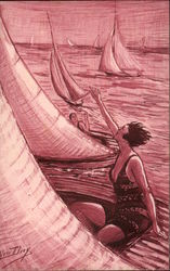 Sketch of Women in Sailboats on the Water