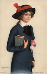 """School Days"" - Young Woman in Blue Carrying Books Postcard"