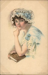 """American Girl"" - Dressed in Blue & White holding a Book Postcard"