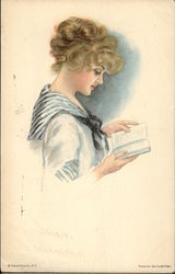 """American Girl"" - Dressed in Sailor Top Reading a Book Postcard"