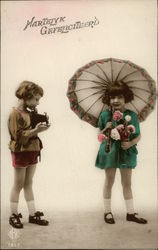 """Hearty Congratulations"" - Two Girls with Camera, Flowers, and Umbrella"