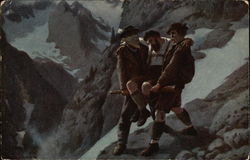 2 Men helping an injured Man on a Mountain Postcard