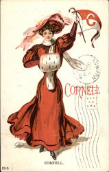 """Cornell"" - Woman in Vintage Red Ensemble Waving Penant"