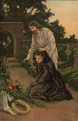 Jesus Comforts a Grieving Woman in the Cemetary
