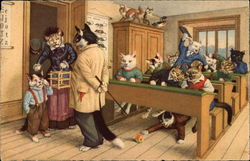 Cats Dressed like People in a Schoolroom