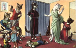 Cats Wearing Clothing at the Dressmaker's Shop