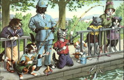 Cats Dressed in Clothing Fishing from a Wall