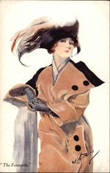 """The Favourite"" - Woman in Coat & Plumed Hat Postcard"