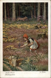 Girl In Field Picking Flowers WIth Tiger In Background