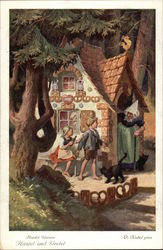 Hansel and Gretel outside the Witch's House