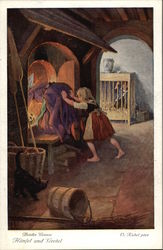 Gretel pushing the Witch in to Fire