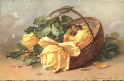 Brown Basket Holding Large Yellow Flowers with Greenery