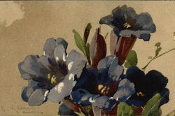Watercolor of Large Blue Flowers