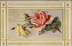 Pink and Yellow Roses Framed in Gold