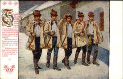 5 Men walking in the Snow Postcard
