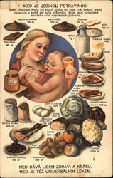 Mother feeding baby and food choices
