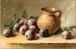 Still Life of Plums and Brown Pitcher