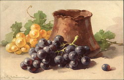Clay Jar beside Golden and Purple Grape Clusters