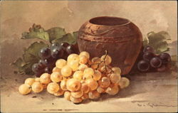 Urn Beside Golden and Purple Grape Clusters