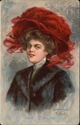 """My Chum"" - Woman in Red Plumed Hat Postcard"
