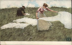 """A Breezy Day"" - Two Women in the Meadow Postcard"